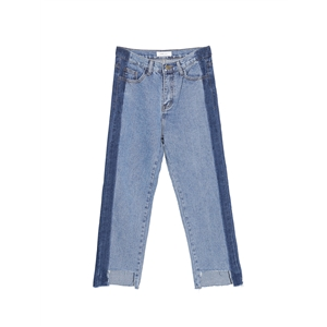 Jeans Patchwork Color Block Washed Cropped Jean Pants