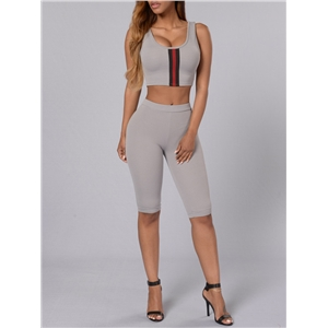 2Pcs Pants Suits Patchwork Tank Top Cropped Pants Suits