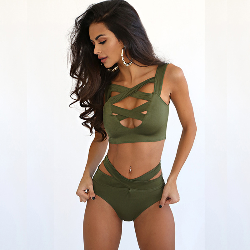e760ede0be High Waisted Swimsuit Double Cross Front Sexy 2 Piece Bathing Suits |  victoriaswing