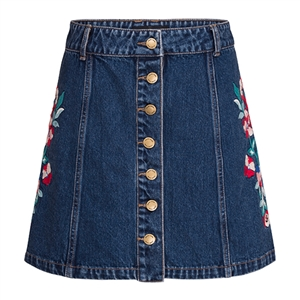 Denim Floral Skirt