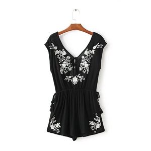 Casual Embroidery Romper
