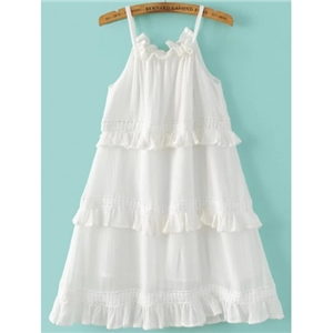 White Ruffle Trim Slip Dress