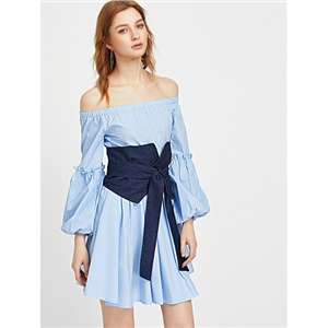 Off Shoulder Bishop Sleeve Dress With Obi Belt