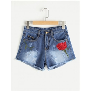 Embroidered Ripped Denim Shorts