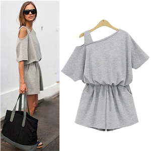 off One Shoulder Short Sleeve Solid Romper