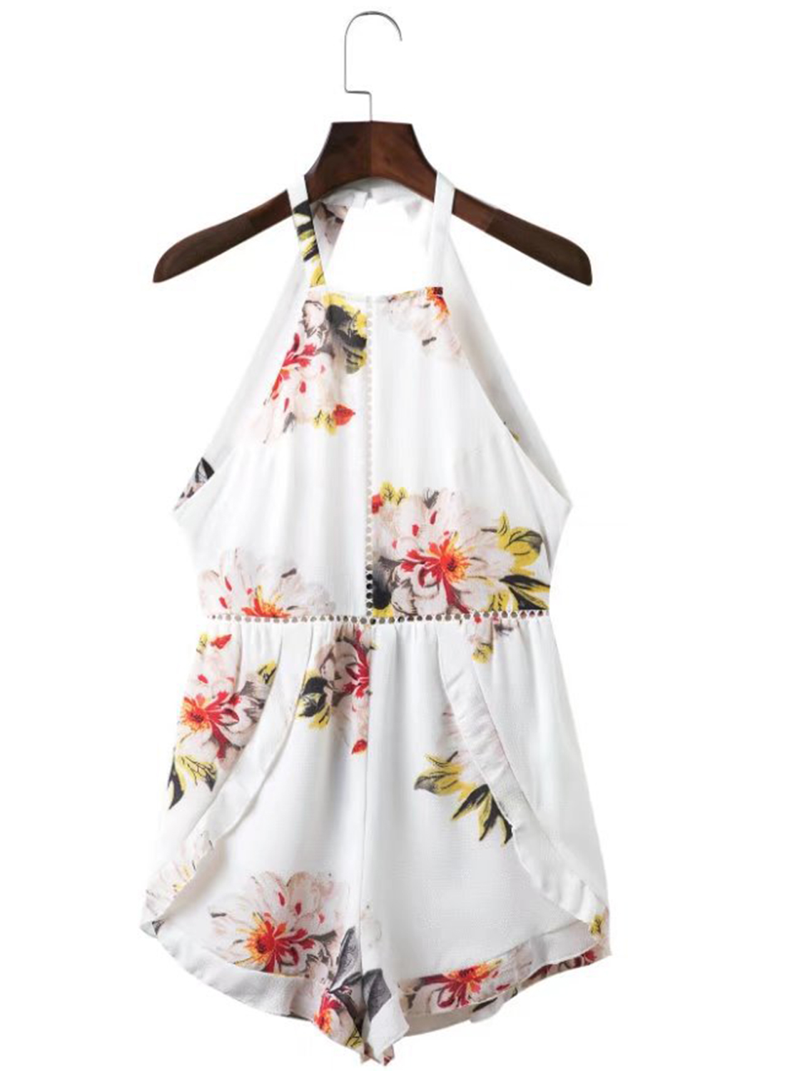 d268db4847b Halter Neck Backless Sleeveless Floral Printed Casual Romper. USD 27.49  USD 40.69 (32% OFF)