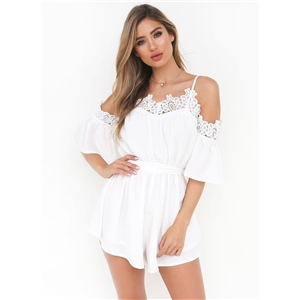 Spaghetti Strap off Shoulder Lace Romper