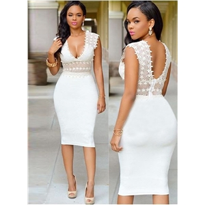 V Neck Hollow Out Lace Bodycon Dress