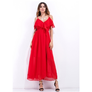V Neck Flounce Panel Maxi Dress