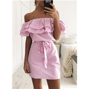 Striped off Shoulder Ruffle Dress with Belt