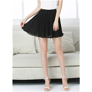 High Waist Chiffon Pleated Chiffon Mini Skirt
