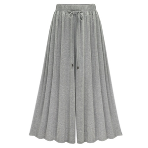 Elastic Waist Loose Fit Pleated Wide-leg Pants