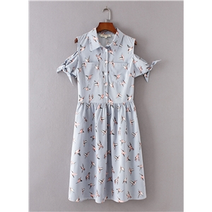 Turn-down Collar Bird Print Stripped Dress