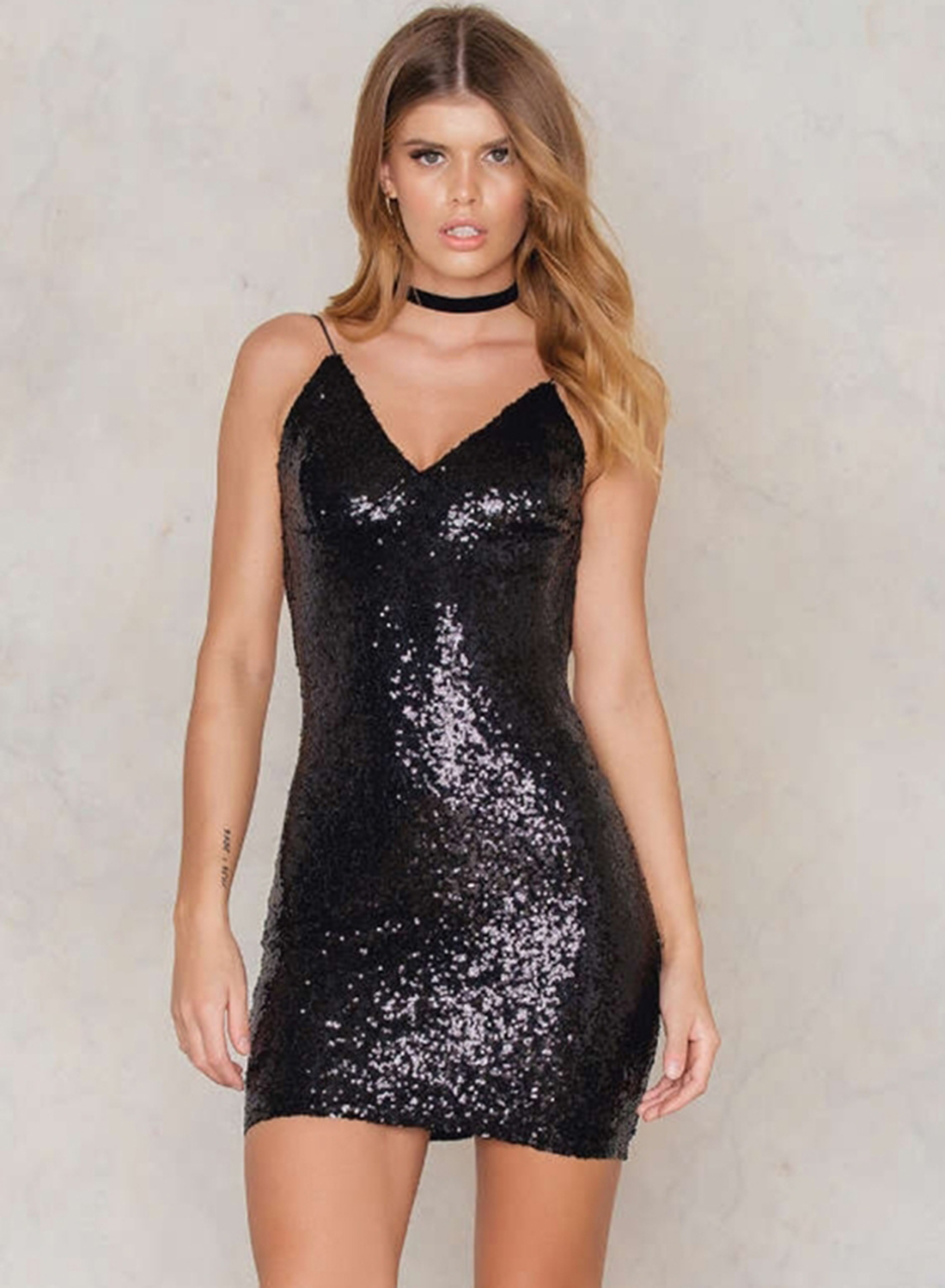 Spaghetti Strap V Neck Sequins Bodycon Club Mini Dress