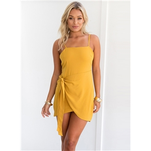 Spaghetti Strap Wrap Irregular Club Dress