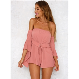 Strapless off Shoulder Flare Sleeve Romper