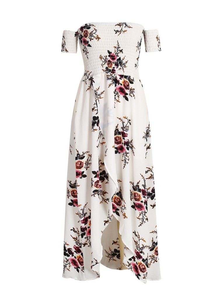 8436fef6943 White Off Shoulder Shirred Floral Print Wrap Tulip Beach Maxi Dress.  USD 24.99 USD 28.99 (13% OFF)