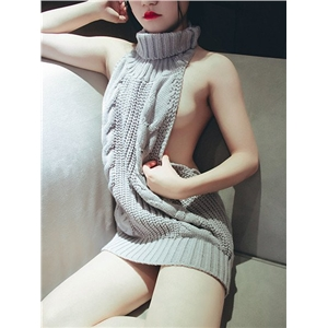 Multi Way Reversible Sexy Backless Turtleneck Long Sweater-Virgin Killer