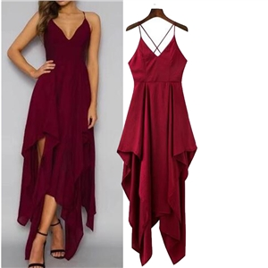 A-line Deep V-neck Burgundy Chiffon Irregular Harness Red Dress