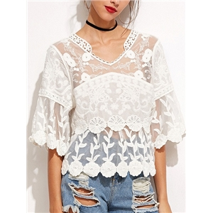 White V Neck Half Sleeve Crochet Lace Embroidery Mesh Top
