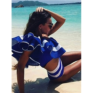Blue Striped One Shoulder Ruffle Crop Top and Brief Bottom