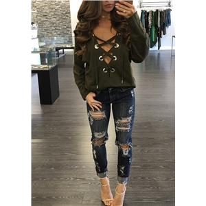 Fashion Sexy Women Deep-V Blouse Long Sleeve Lace-up Casual Loose T Shirt Tops