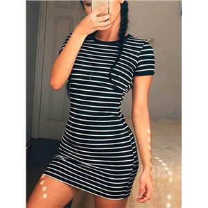 Casual Round Neckline Striped Bodycon Dress