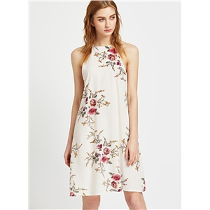 off Shoulder Sleeveless Floral Printed Loose Dress