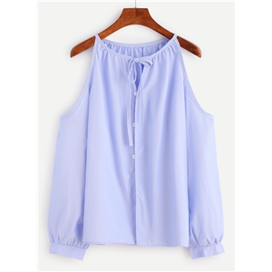 Casual Solid Cold Shoulder Long Sleeve Blouse