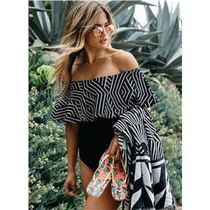 Fashion Slim Fit off Shoulder Ruffle Swimsuit
