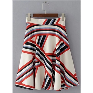 Fashion Striped A-line Midi Skirt
