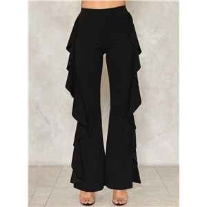 Fashion Solid Ruffle Flare Pants
