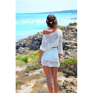 Women's Sexy Crochet Hollow Out Bikini Cover Up Dress White