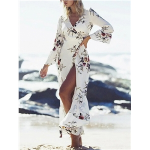 White Floral V-neck Tie Waist Ruffle Trim Wrap Maxi Dress