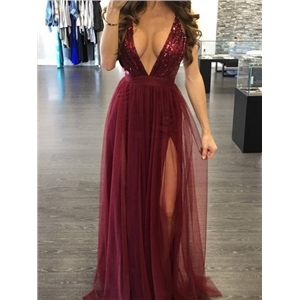 BurgundyPlunge Sequin Bodice Cross Back Split Maxi Party Dress