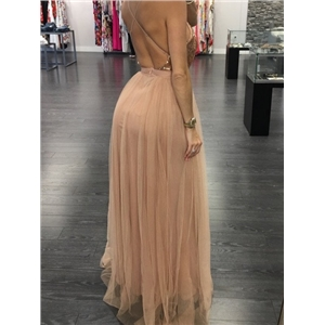 Light Pink Plunge Sequin Bodice Cross Back Split Maxi Dress