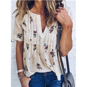 White V-neck Floral Short Sleeve Blouse Top