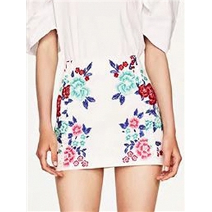 White High Waist Floral Print Pencil Mini Skirt