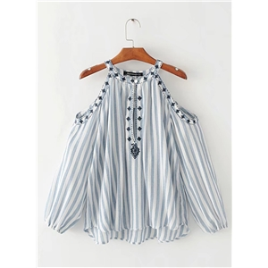 Round Neck Off shoulder Hollow out Striped Blouse