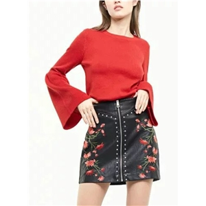 Fashion Floral Embroidery PU Mini Skirt