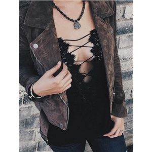 Black Lace Up Crochet Lace Panel Cami Top