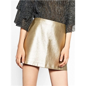 Golden High Waist Metallic Pencil Mini Skirt