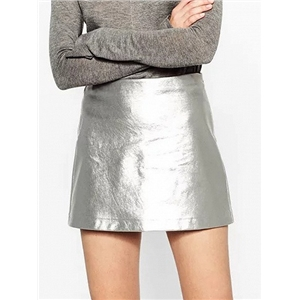 Silver High Waist Metallic Pencil Mini Skirt