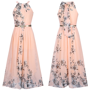 Flowy Floral Printed Crew Neck Chiffon Maxi Dress