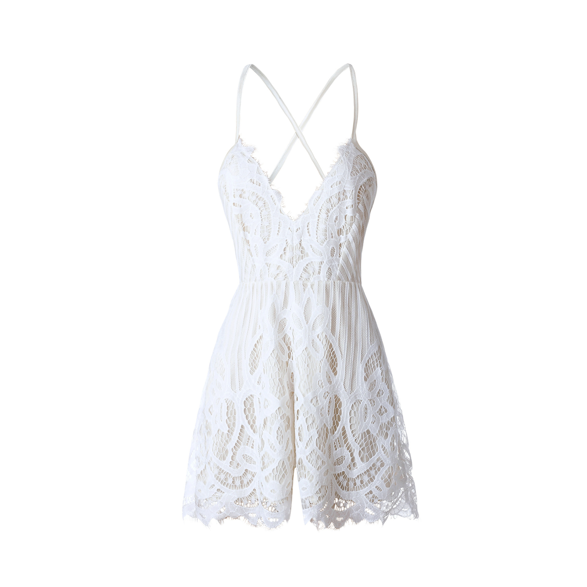 bf0b5f36d076 2017 Fashion Women Strap V Neck Playsuits Summer Sleeveless White Lace  Jumpsuits One Piece Rompers Lovely Girls Overalls. USD 22.99