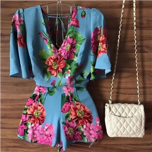 Printed V collar one-piece dress