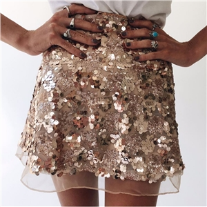 Light Gold And Silver Color Short Sequined Skirts Women Summer Clothing Zipper Shiny Mini Skirt