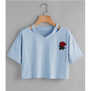 V-Neck Rose Patch Cut Out Short Sleeve T-Shirt