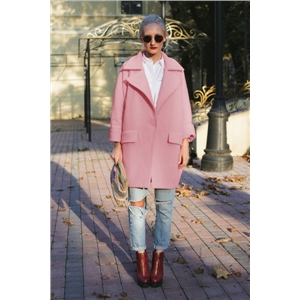 Winter Woolen Pink coat Women Single button Simple Jacket Overcoat