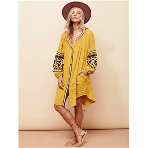 Summer Women oversized Ethnic Embroidery Loose Bohemian dress